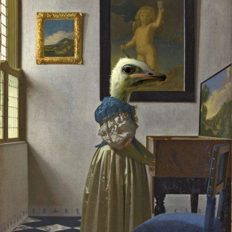 hervey, bestiaire imaginaire, hommage à Vermeer, gravure numérique, digraphie