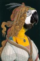 hervey, digigraphie, bestiaire imaginaire, gravure numérique, hommage à botticelli