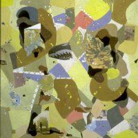 Hervey, peinture, collage, série Cartes et Itinéraires, Kaléidoscope pour un Mémorial