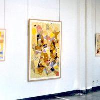 Hervey, peinture, collage, cartes et itinéraires, expo Espace de Joigny