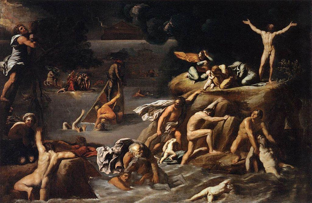 """Peinture d'Antoine Carrache intitulée """"Le déluge"""" 1616-1618"""