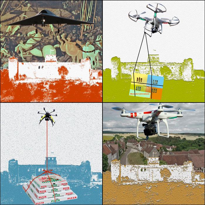 hervey, déclinaisons, gravure numérique, le drone à tout faire