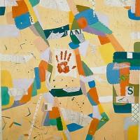 Hervey, peinture, série cartes et itinéraires, acte-pictural, 180x124cm
