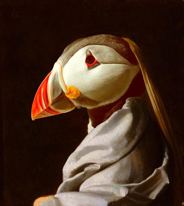 hervey, digigraphie, bestiaire imaginaire, gravure numérique, hommage à vermeer 2