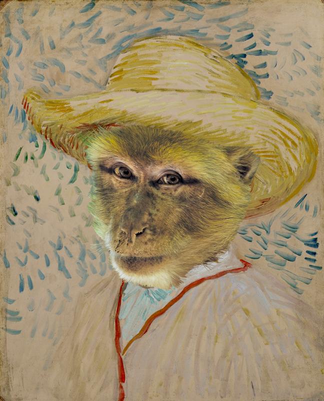 hervey, bestiaire imaginaire, digigraphie, hommage à Vincent Van Gogh, gravure numérique