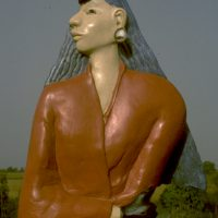 hervey, sculpture, plaire polychrome, dame de pique