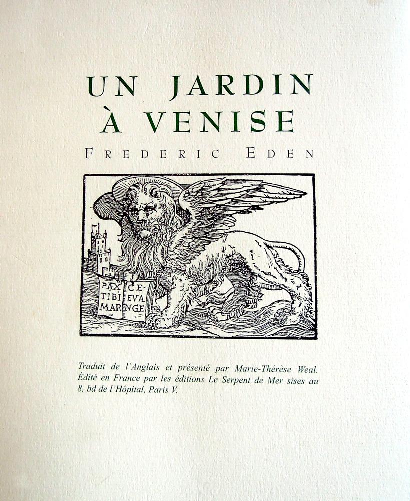 Livre, Un jardin à Venise de Frédéric Eden, traduit de l'anglais par Thérèse Weal