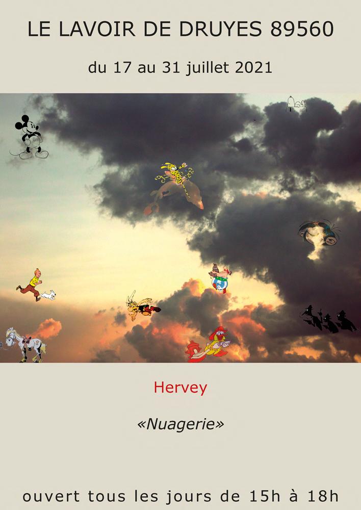"""Page recto du flyers Hervey """"Nuagerie"""" Espace du lavoir de Druyes"""