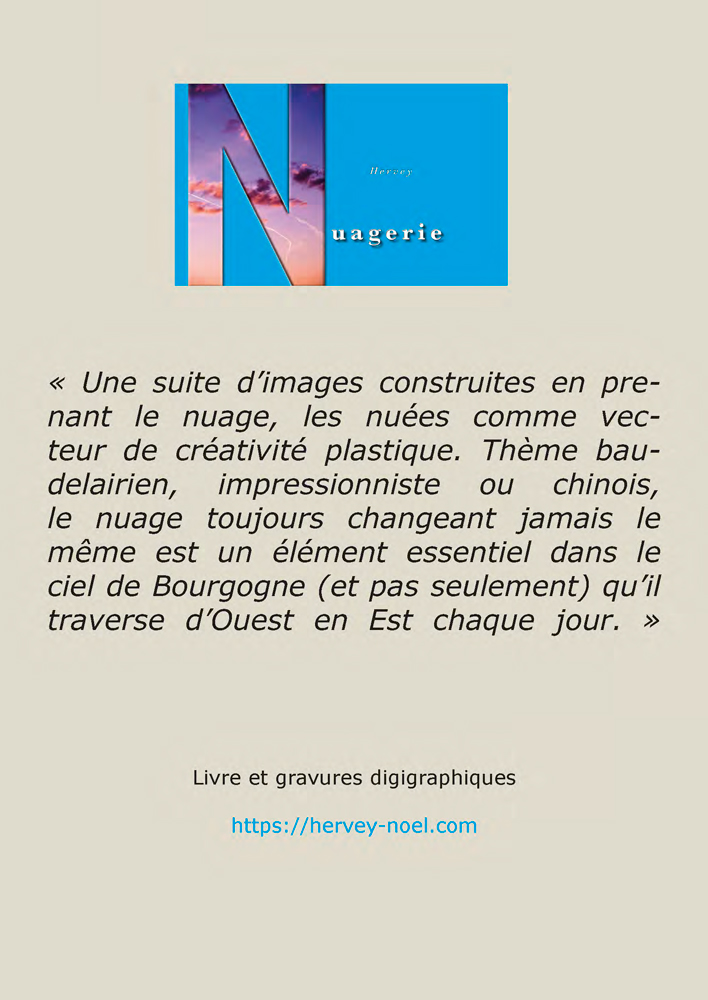 """Page verso du flyers Hervey """"Nuagerie"""" Espace du lavoir de Druyes"""